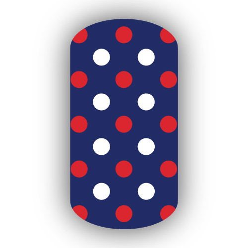 Navy Blue With Red Amp White Small Polka Dots Nail Wrap