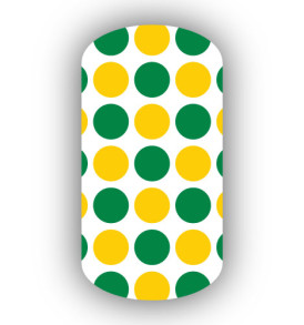 green polka dots on white background