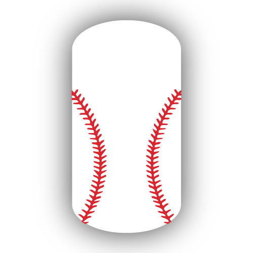 White Baseball With Red Stitching Nail Wrap