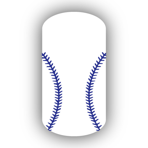 White Baseball With Royal Blue Stitching Nail Wrap