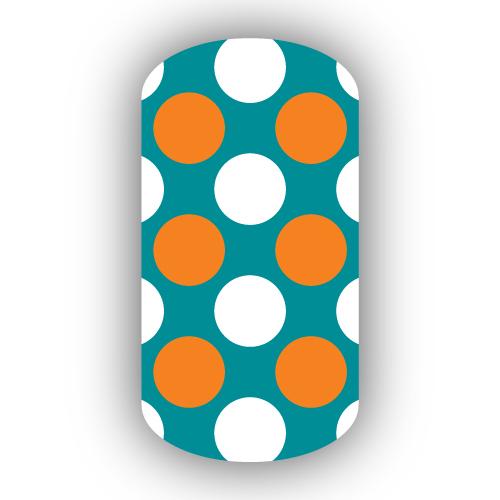 Aqua With White Amp Light Orange Retro Polka Dots Nail Wraps