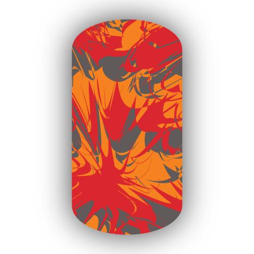 Charcoal Light Orange Red Paint Splatter Nail Wraps