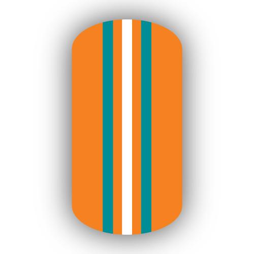 Light Orange Aqua Amp White Triple Vertical Striped Nail Wraps