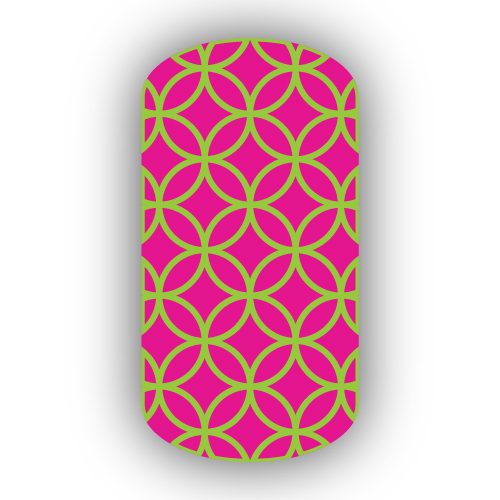 Hot pink with lime green overlapping circles nail wraps prinsesfo Image collections