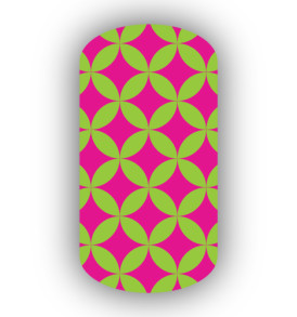 Lime green hot pink nail art designs spirit wear nail wraps lime green hot pink interlocking circles nail wraps prinsesfo Image collections