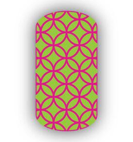 Lime green hot pink nail art designs spirit wear nail wraps lime green with hot pink overlapping circles nail wraps prinsesfo Image collections