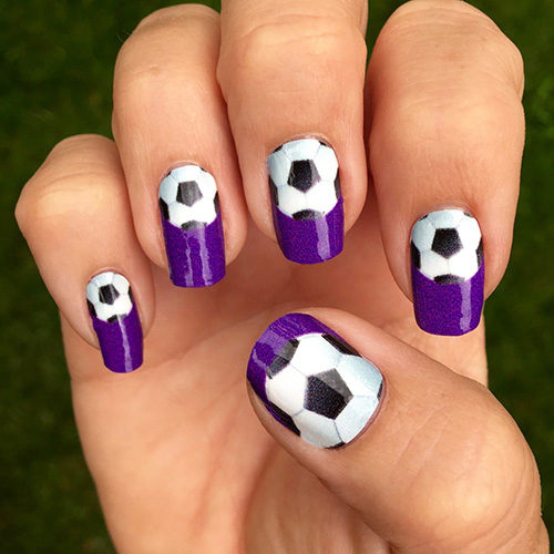 ... Purple Soccer Ball Nail Art - Soccer Nail Wraps Single Soccer Ball Over A Purple Background