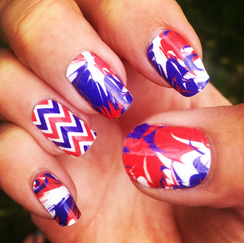 Red, White & Royal Blue Patriotic Nail Designs - Red, White & Royal Blue Paint Splatter Nail Wraps