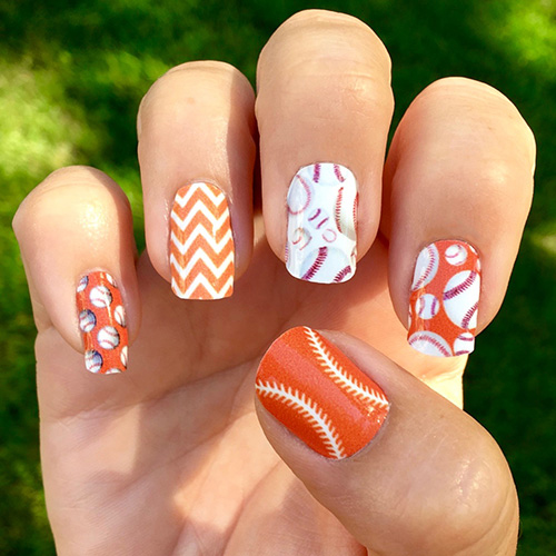 ... Dark Orange and White Baseball Nails - Baseball Nail Wraps Baseballs Over A White Background