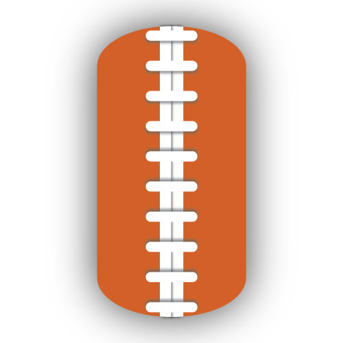 Football Stitching Nail Art Burnt Orange Background