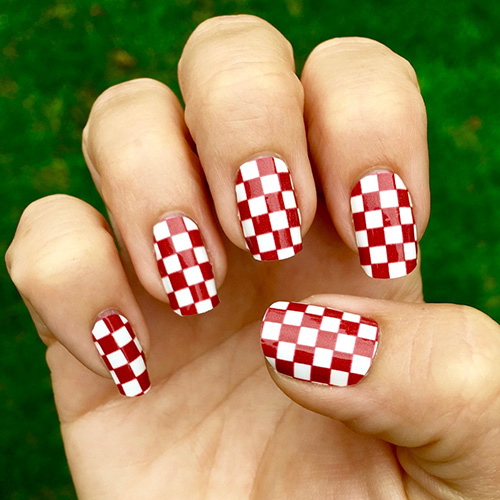 Crimson Red And White Checkered Nail Art Design