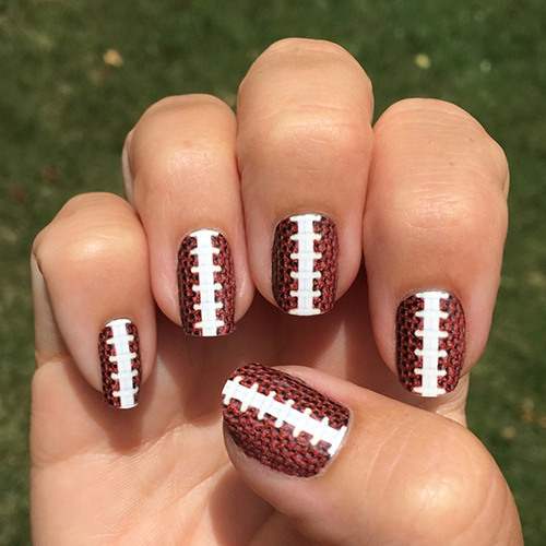 ... Football Texture with Stitching Nail Art Design - Football Stitching Nail Art Football Texture With Stitching