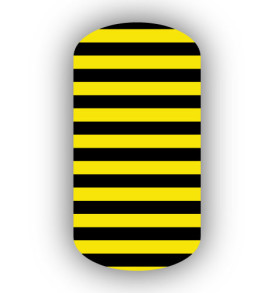 Black Lemon Yellow Skinny Horizontal Striped Nail Wrap