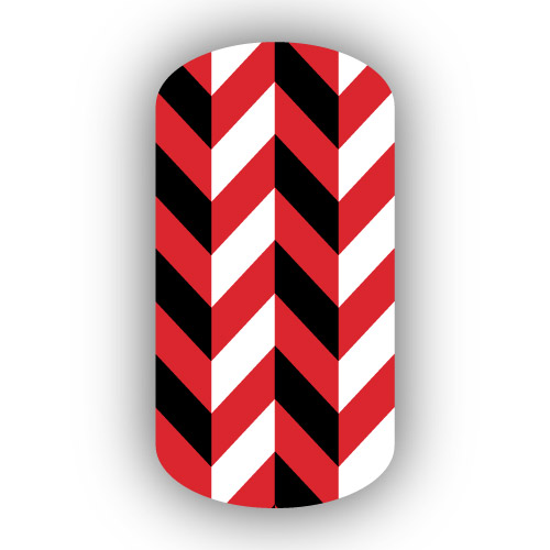 Red With White Black Herringbone Nail Wrap