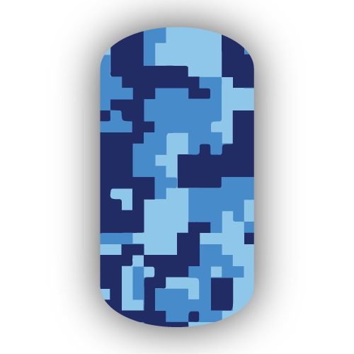 Navy Blue Digital Camouflage Nail Wrap