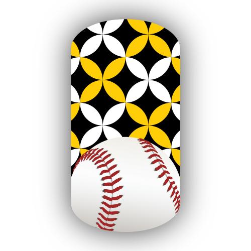 Baseball Over Black, Gold & White Kawung Batik Nail Wrap