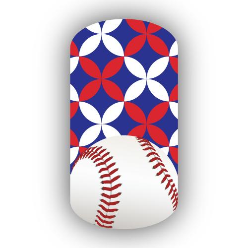 Baseball Over Royal Blue, Red & White Kawung Batik Nail Wrap