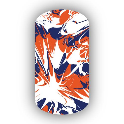 Navy Blue Dark Orange Amp White Paint Splatter Nail Wraps