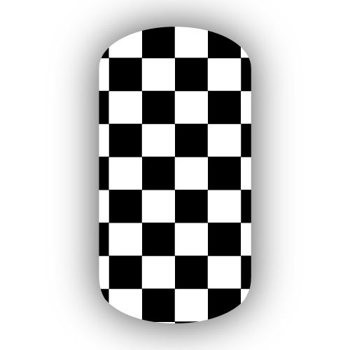 Black White Checkered Nail Wraps