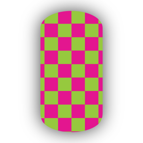 Hot Pink Lime Green Checkered Nail Wraps