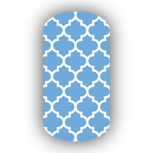 Light Blue White Moroccan Tile Nail Wraps