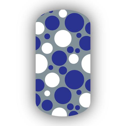 Silver Royal Blue White Bubbles Nail Wraps