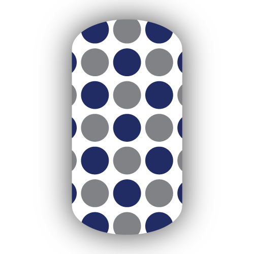 White With Dark Gray Navy Blue Large Polka Dots Nail Wraps