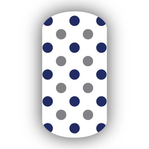 White With Navy Blue Dark Gray Small Polka Dots Nail Wraps