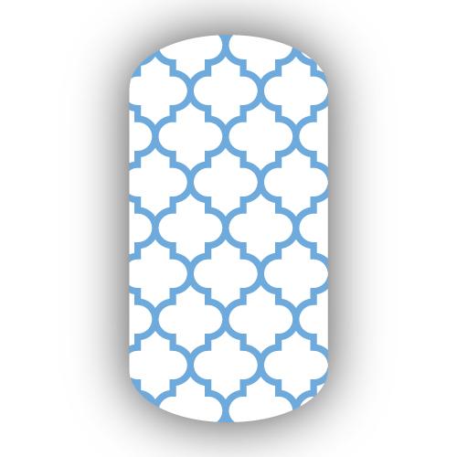 White Light Blue Moroccan Tile Nail Wraps