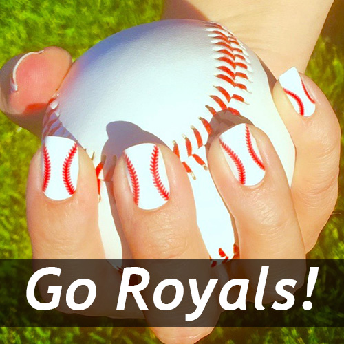 Kansas City Royals Baseball Nail Art Designs