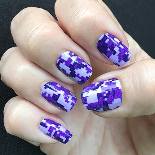 Purple Digi Camo Nail Art