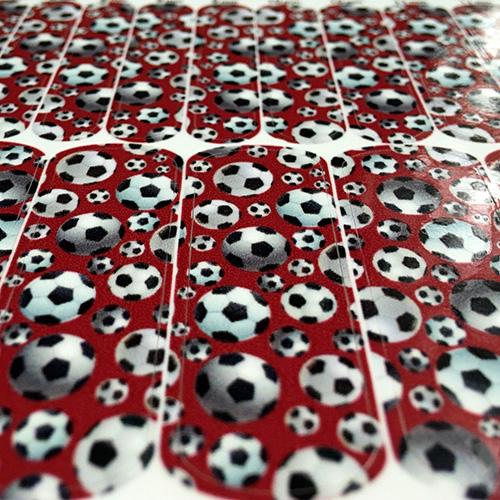 Soccer Nail Wraps Soccer Balls Over A Crimson Background