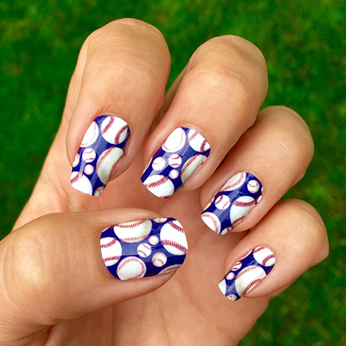 Easy to apply and looks great on short or long nails. All of our designs  are made to mix & match. Wear your favorite MLB team colors and represent  Atlanta ... - Atlanta Braves Baseball Nail Art Ideas & Designs Spirit Wear Nail