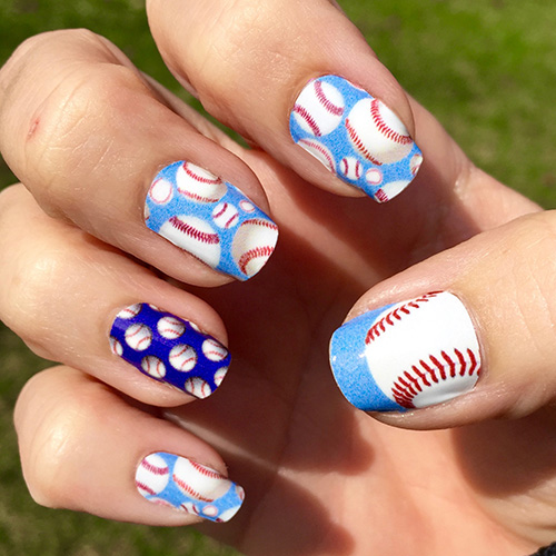 Baseball With A Light Blue Background Nail Wrap