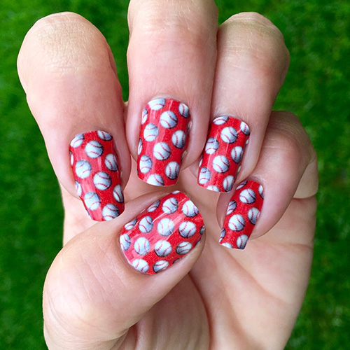 Red Baseball Nail Stickers