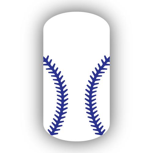 White Baseball With Royal Blue Stitching Nail Wrap