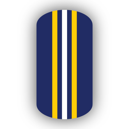 Navy Blue Gold White Triple Vertical Striped Nail Wraps