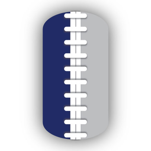 Football Stitching Nail Art Navy Blue Silver Background