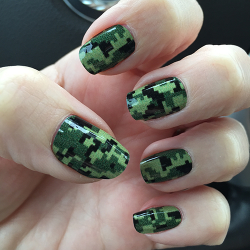 Army Green Digital Camouflage Nail Art - Army Green Digital Camouflage Nail Wrap