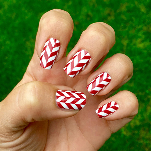 White Crimson Herringbone Nail Wraps