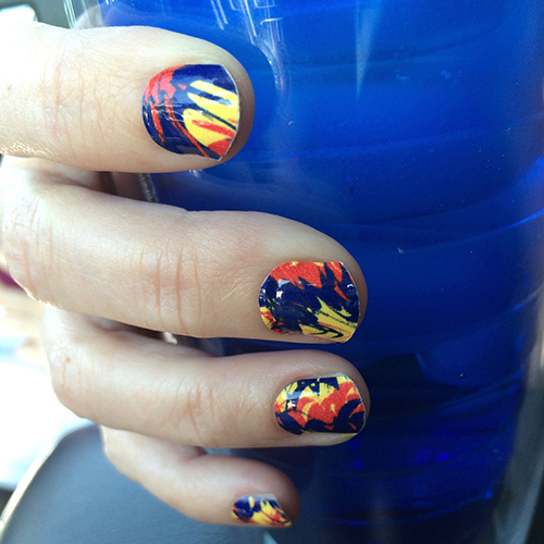 Red Gold Royal Blue Paint Splatter Nail Wraps