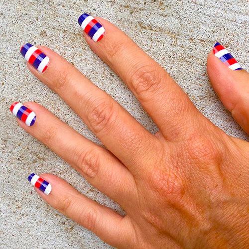 White Red Amp Navy Blue Rugby Striped Nail Wrap