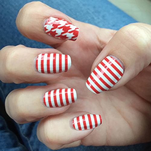 Red White Skinny Horizontal Striped Nail Wraps