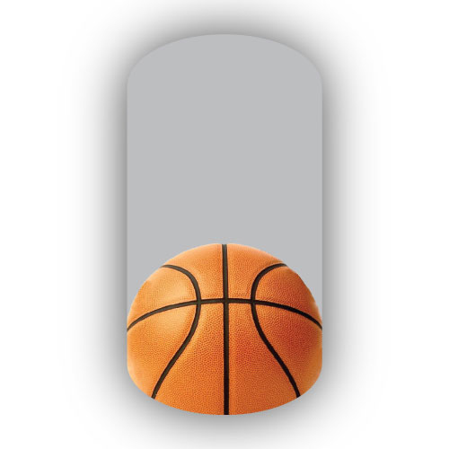 - Single Basketball Over A Silver Background Nail Wraps