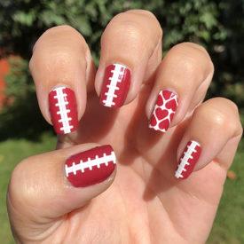Crimson Football Sching Nail Art Designs